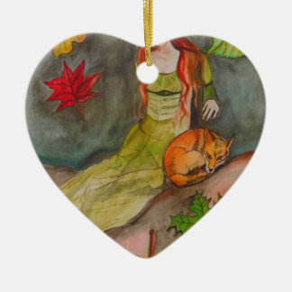 Lady and The Fox Ceramic Ornament