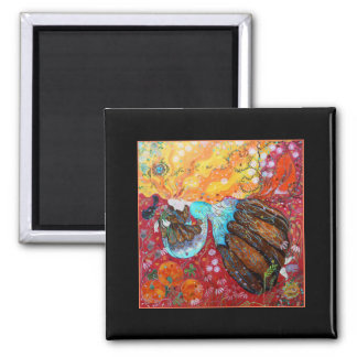 Lady and the Seasons of the Year. Square Magnet