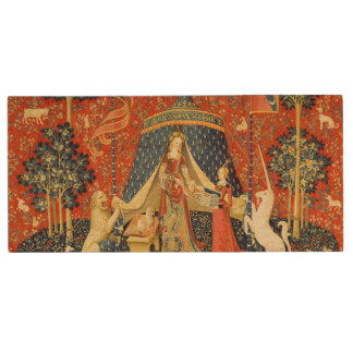 Lady and the Unicorn Medieval Tapestry Art Wood USB 2.0 Flash Drive