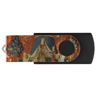Lady and the Unicorn Medieval Tapestry Art Swivel USB 2.0 Flash Drive