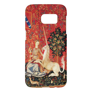 LADY AND UNICORN Fantasy Animals Green Red Floral