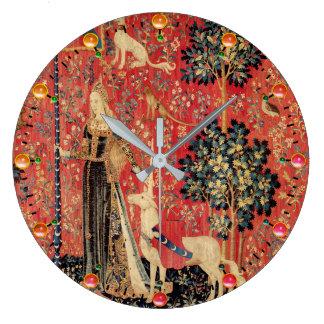 LADY AND UNICORN Fantasy Flowers,Animals,Gemstones Large Clock