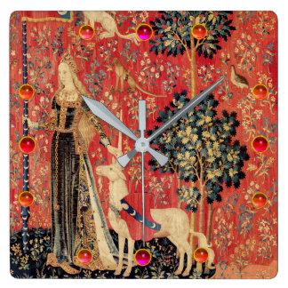 LADY AND UNICORN Fantasy Flowers,Animals,Gemstones Square Wall Clock
