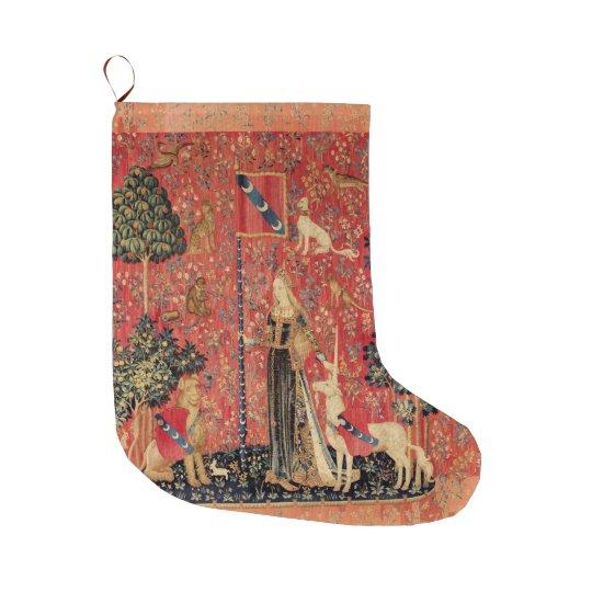 LADY AND UNICORN Fantasy Flowers,Animals Large Christmas Stocking