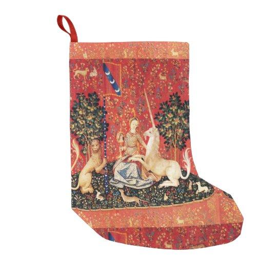 LADY AND UNICORN Fantasy Flowers,Animals Small Christmas Stocking