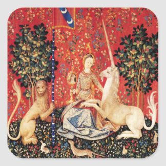 LADY AND UNICORN Fantasy Flowers,Animals Square Sticker