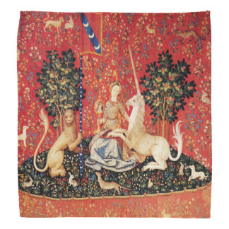 LADY AND UNICORN Lion,Fantasy Flowers,Animals Bandana