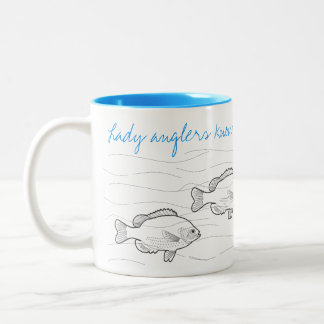 """""""Lady Anglers Know How to Present the Bait!"""" fish Two-Tone Coffee Mug"""