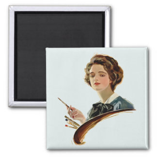 Lady Artist Square Magnet