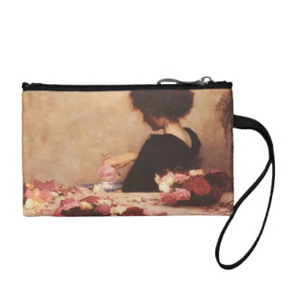 Lady at table change purses