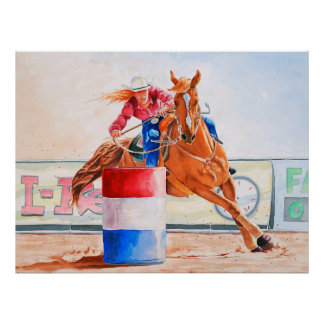 Lady Barrel Racer. Western Contesting. Poster