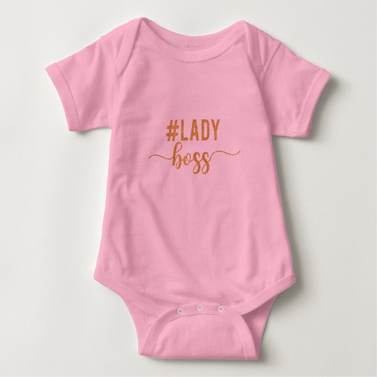 lady boss gold glitter baby bodysuit