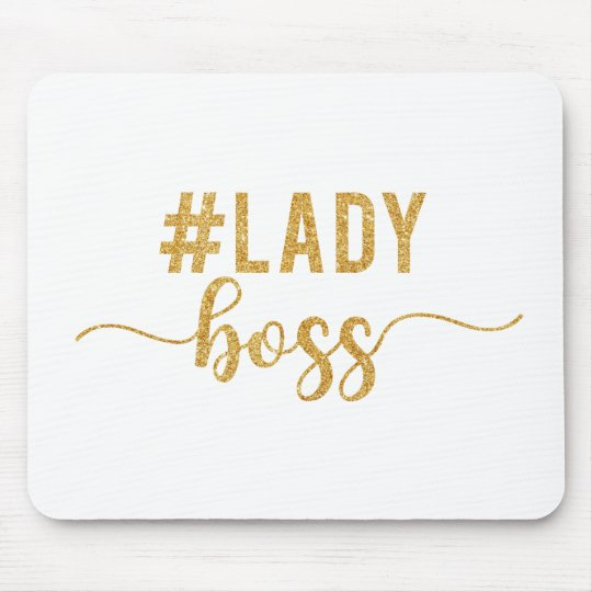 lady boss gold glitter mouse pad