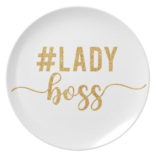 lady boss gold glitter plate