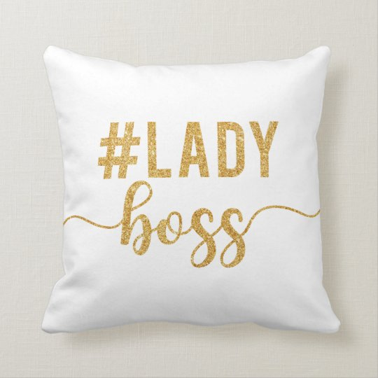 lady boss gold glitter throw pillow