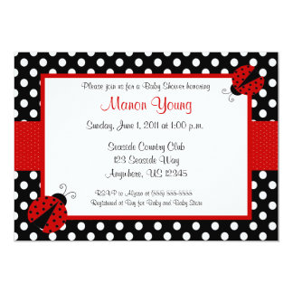 Lady Bug Baby or Bridal Shower Invitation