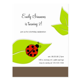 Lady Bug birthday invitation Postcard
