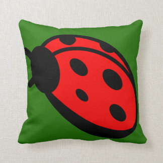 Lady Bug Dark Green Throw Pillow