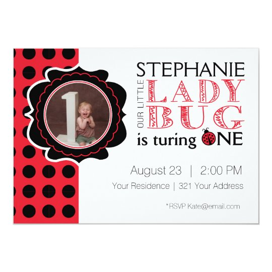 Lady Bug First Birthday Invitation