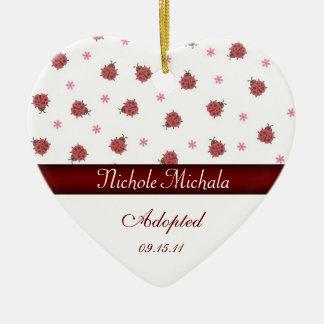 Lady Bug Heart Shaped Adoption Announcement Keepsa Ceramic Ornament