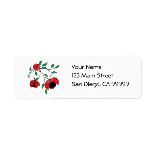 Lady Bug, Lady Bugs Return Address Label