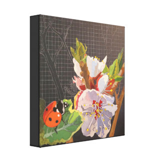 Lady Bug on Spring Blossom Canvas Print