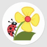Lady Bug on Yellow Flower Classic Round Sticker