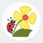 Lady Bug on Yellow Flower Round Sticker