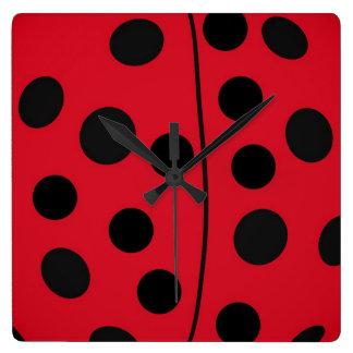 Lady Bug Red and Black Design Clocks
