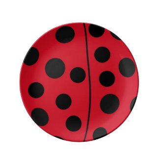 Lady Bug Red and Black Design Plate