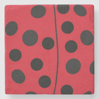 Lady Bug Red and Black Design Stone Beverage Coaster