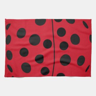 Lady Bug Red and Black Design Tea Towel