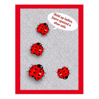 Lady Bug Shoe Sale Funny Postcard