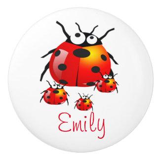 lady bug with baby ladybugs ceramic knob