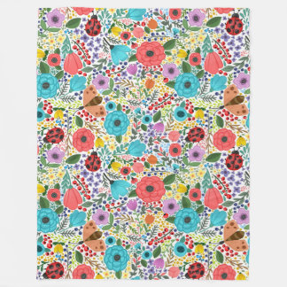 Lady Bugs and Flowers Fleece Blanket