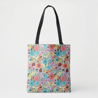Lady Bugs and Flowers Tote Bag