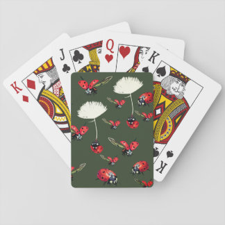 Lady bugs Green  Playing Cards
