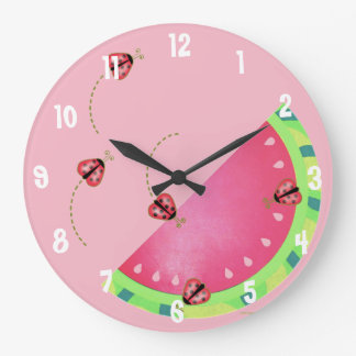 Lady Bug's Watermelon (pink) clock