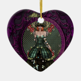 Lady Carnival Ceramic Heart Decoration