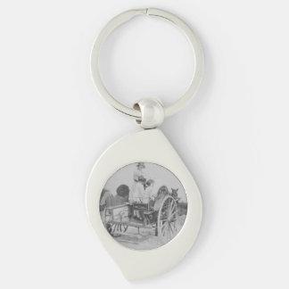 Lady & Cart Black & White Swirl Metal Keychain Silver-Colored Swirl Key Ring