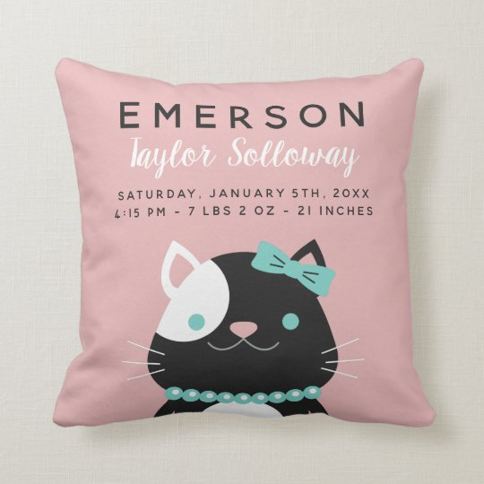 Lady Cat with Pearl Necklace Birth Stats Cushion