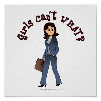 Lady CEO in Business Suit Print
