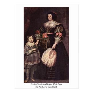Lady Charlotte Butke With Son By Anthony Van Dyck Postcard