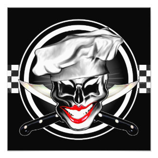 Lady Chef Skull Photographic Print