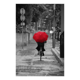 Lady Cyclist with a Red Umbrella, Florence, Italy Poster