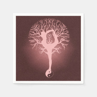 Lady doing yoga with red background. disposable napkin