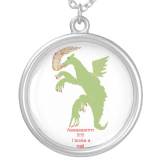 LADY DRAGON WITH BROKEN NAIL ROUND PENDANT NECKLACE