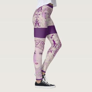 LADY Fashion Leggings-Lavender/Purple/White Leggings