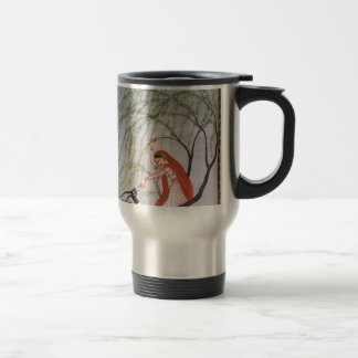 LADY FEEDING ANTELOPE ANCIENT INDIA ART TRAVEL MUG