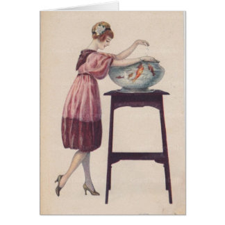 Lady Feeding Goldfish, Card